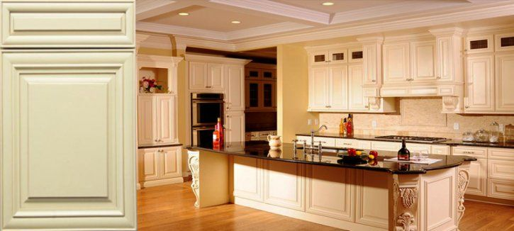 Cream Cabinets with Chocolate Glaze  Kitchen Cabinets to Go  All