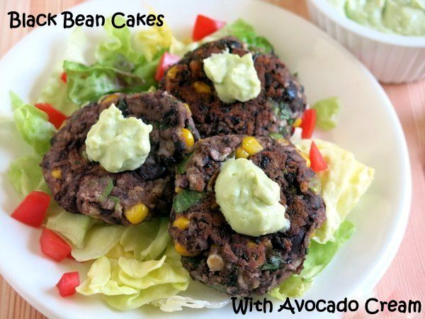 Black Bean Cakes with Avocado Cream Sauce that is great for dipping! # ...