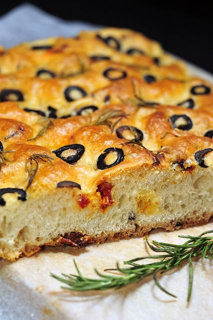 Olive and rosemary focaccia | Bread and savory baking | Pinterest