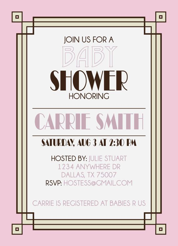 Gatsby Inspired Baby/Wedding Shower Printable Invitation by KateOGroup ...