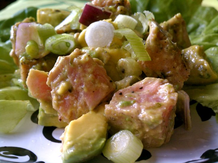 Seared Tuna and Avocado Salad with Wasabi-Lime Dressing |