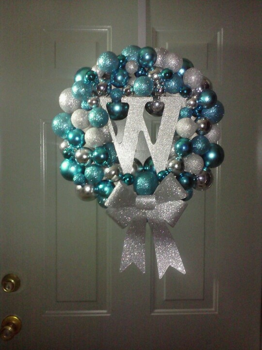 wreath, Christmas 2012. Ornaments from hobby lobby, W from hobby lobby ...