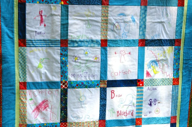 Classroom Quilt Themes : White blocks with blue border classroom quilt ideas