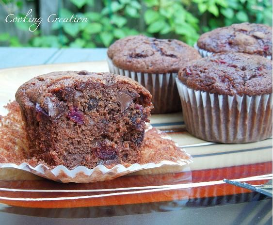... Double Chocolate Covered Cherry Muffins-made with fresh Bing cherries