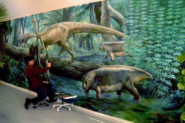 Painting dinosaurs wall murals ideas cool design pinterest for Dinosaur mural ideas