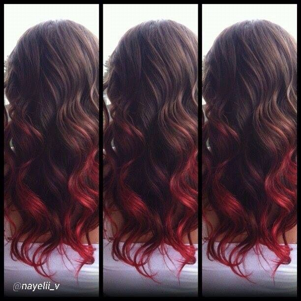 Black to red ombre hair pinterest