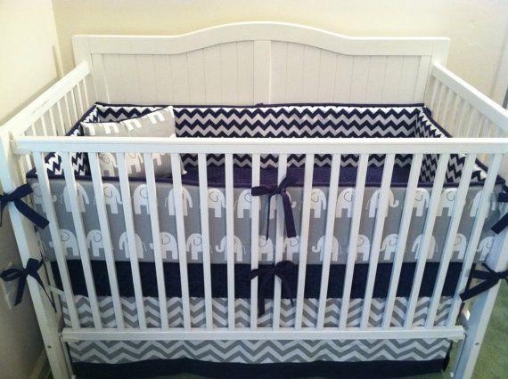 Navy and Gray Elephant Crib Bedding Set