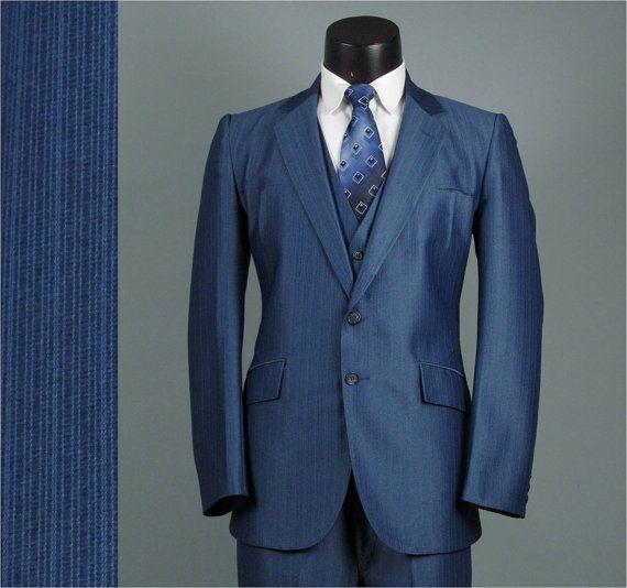 Vintage Mens Suit 1970s SLATE BLUE PINSTRIPE 3 by jauntyrooster, $175.00