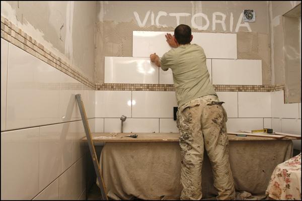 White tiles mosiac border bathroom pinterest