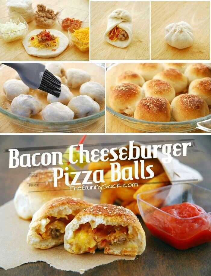 Bacon cheeseburger pizza balls | Recipes | Pinterest