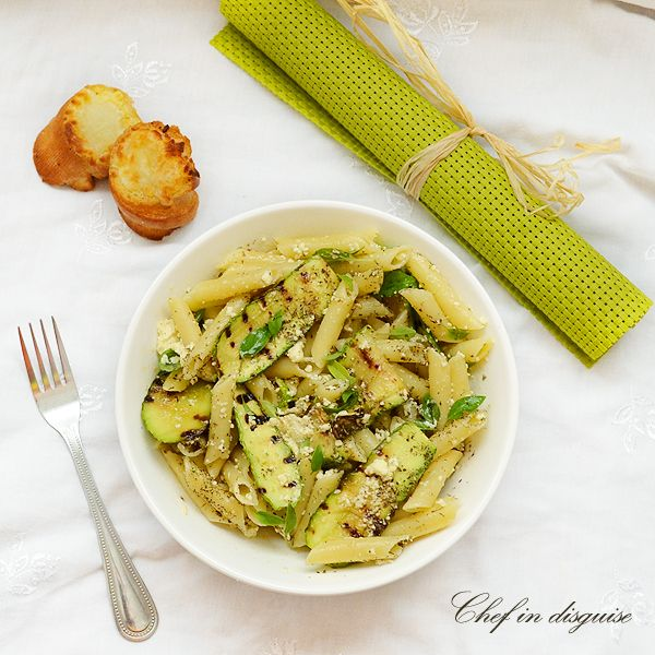 Pasta salad with grilled zucchini, basil and ricotta