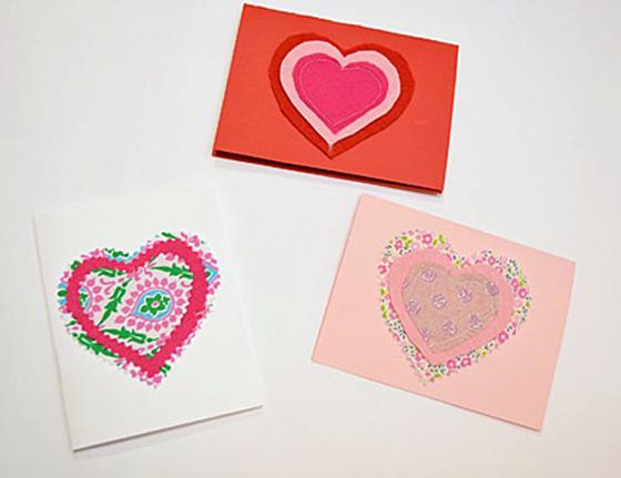 Handmade Valentine's Day Cards Using Scrap Fabric