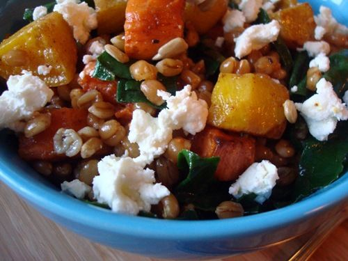 Roasted Root Vegetable Wheat Berry Salad - Golden beets with greens ...