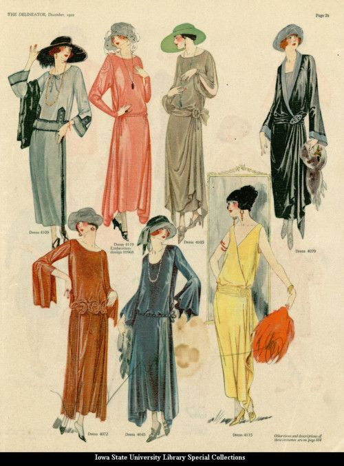 Catalogue page showing evening dresses, 1922, the Delineator