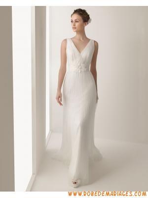 Robe de mariée tulle col V fleurs  Robe de mariée 2013  Pinterest