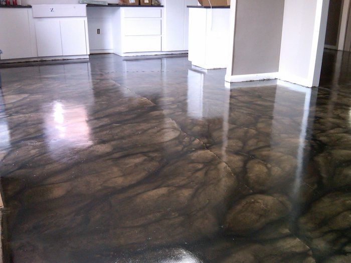 Stained concrete floors recipes pinterest for Black stains on concrete