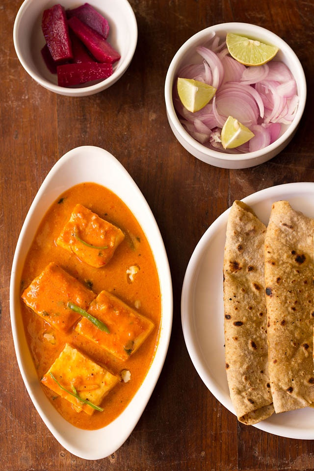 paneer butter masala, with vegan substitutes as desired