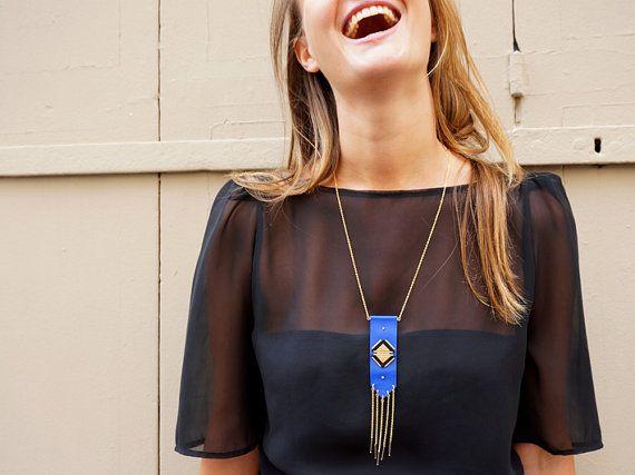 Sautoir cuir franges triangles fait main fosseth / Long necklace fringes handmade