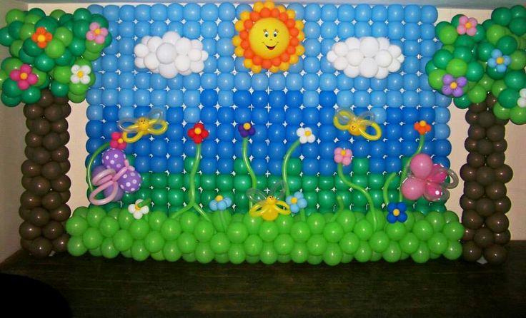 Jardin balloons backdrops murales con globos pinterest - Decoracion fiesta jardin ...