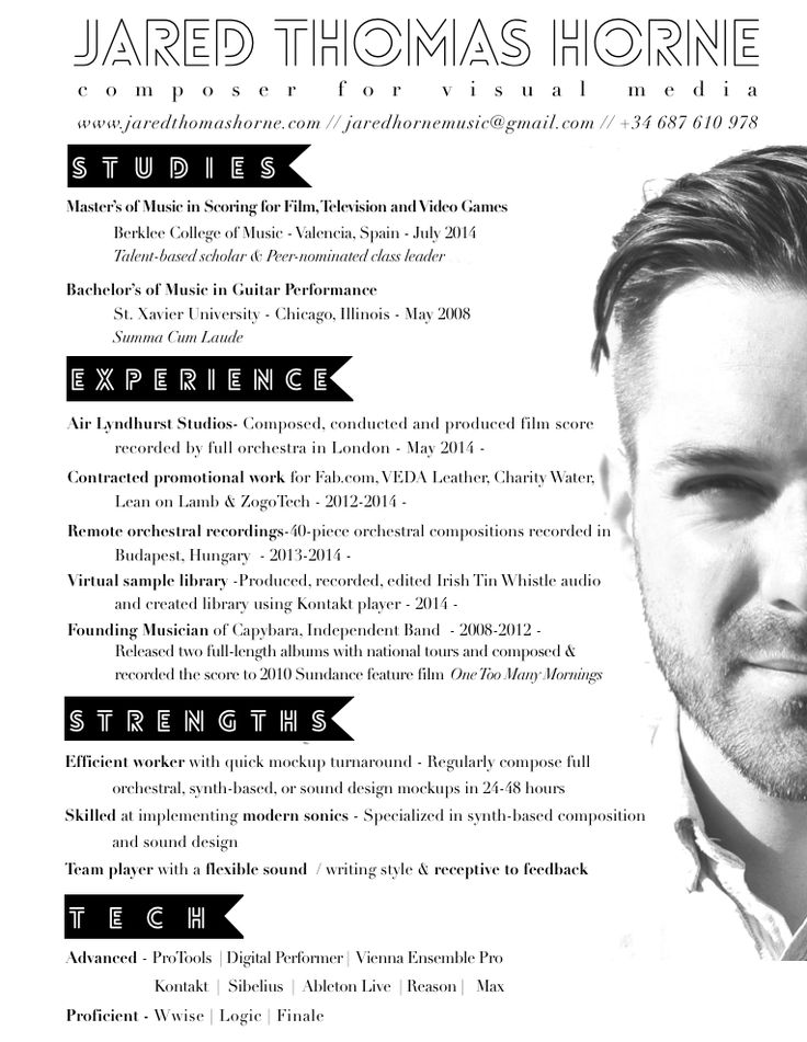 resume templates for musicians