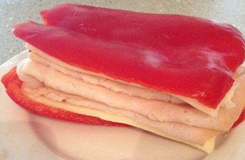 Red bell pepper sandwich!! Great idea... lots of crunch!!