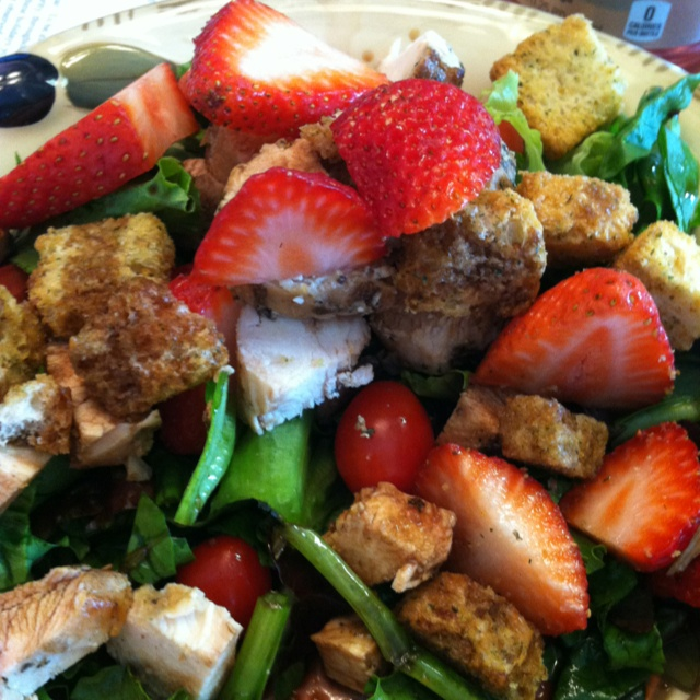 dandelion greens, strawberries cherry tomatoes and croutons. Grilled ...