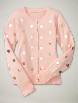 soft pink, gold polka-dotted cardi. Love it!