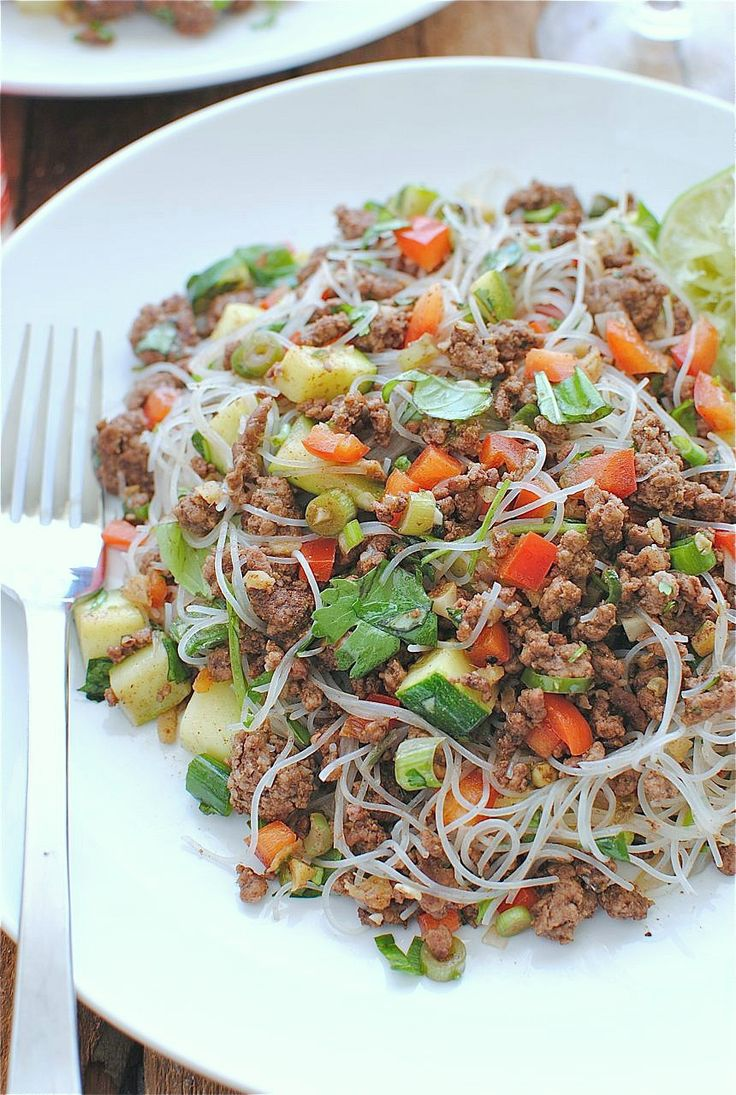 Spicy Beef and Basile w/ Vermicelli Noodles