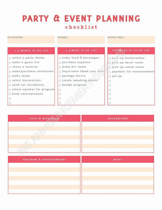 Event planning checklist templates free