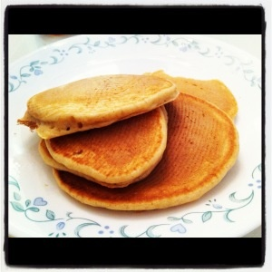 pancakes. Really good and fluffy but needed a bit more sugar or honey ...