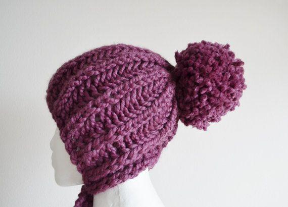 Knitting Brioche Stitch Hat : Chunky Knit Hat, The Navigator Brioche Stitch Bunny Beanie Bonnet, Kn?