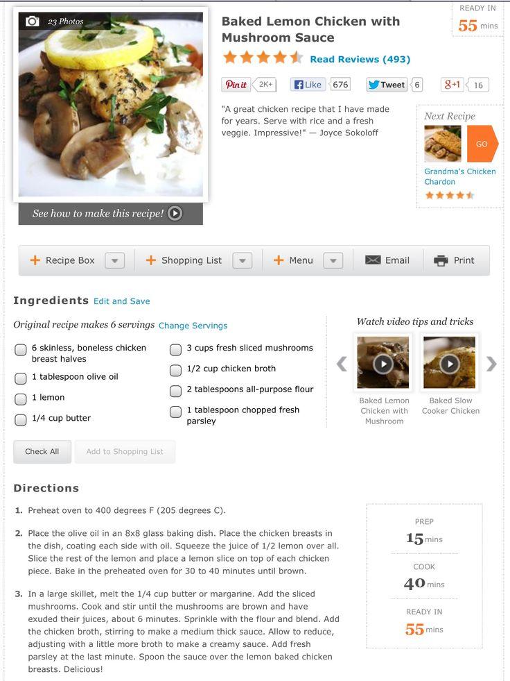 Baked lemon chicken with mushroom sauce | Recipes | Pinterest