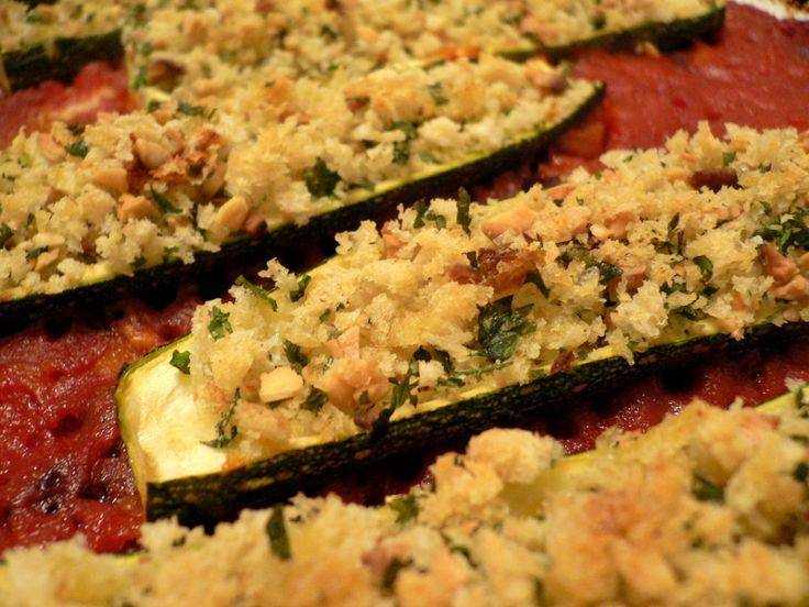 Garlic and Herb-Stuffed Zucchini | Meals to Try Making | Pinterest