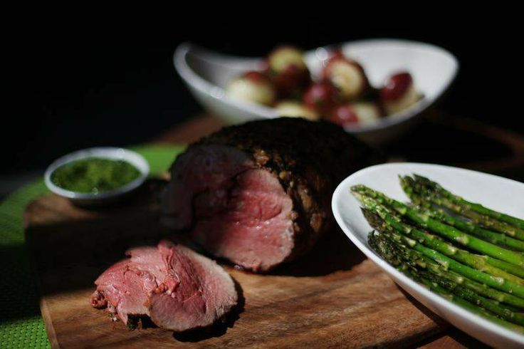 Leg of Lamb with Parsley Garlic Crust and Honey Mint Sauce