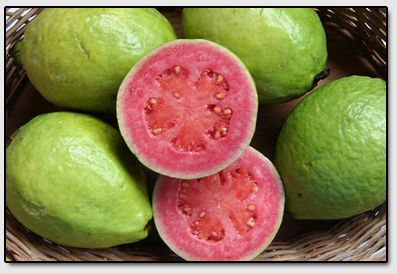 Guava - This is a sweet aromatic fruit which should only be eaten when very ripe. In fact, the Guava, when cut, has an attacking aroma, quite powerful and enough to have some salivating even before tasting.