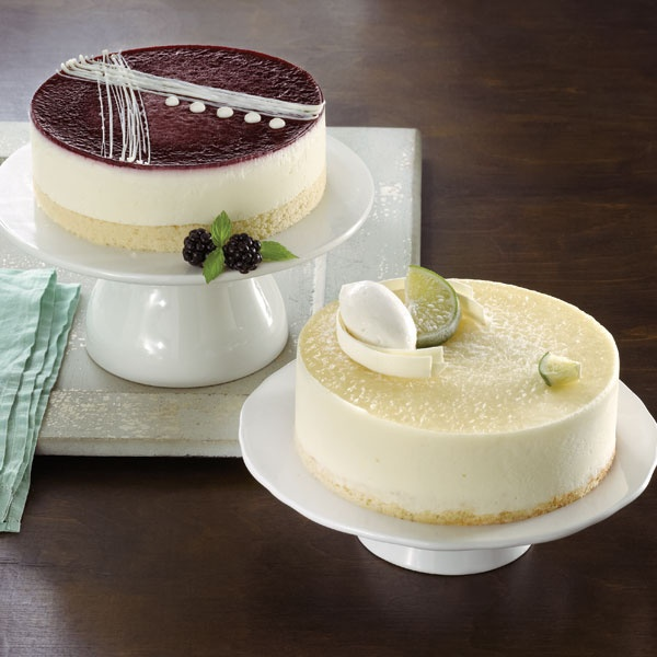 Greek Yogurt Mousse Cakes topped with Blackberry or Lime glaze, makes ...
