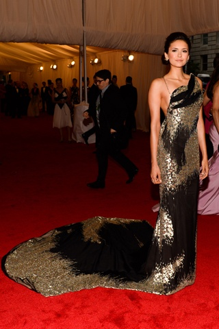 Nina Dobrev in Donna Karan Atelier at the 2012 Met Gala. Photo Credit: Getty Images