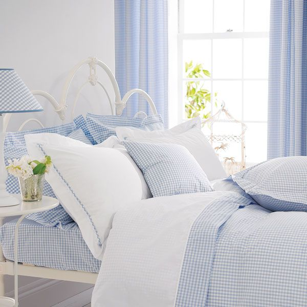 blue gingham bedding