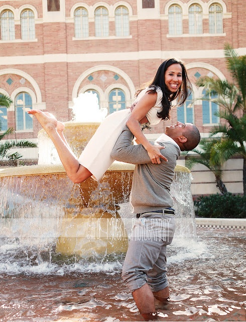 USC campus fountain - engagement