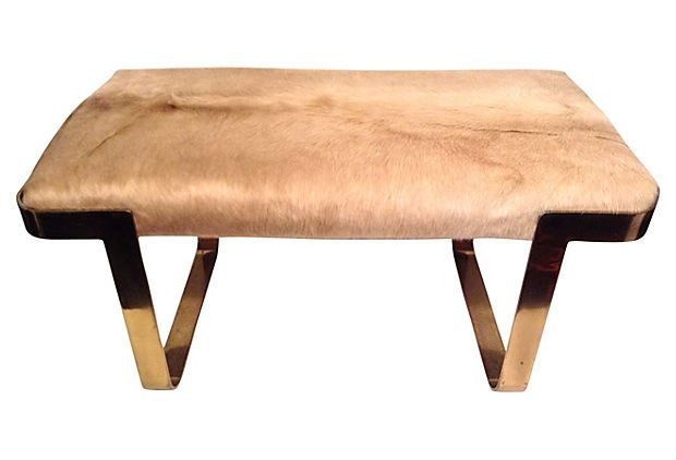 Midcentury Brass Cowhide Bench