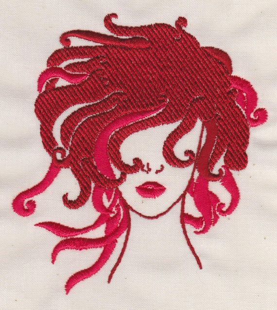 Machine embroidery design fashion hairstyle