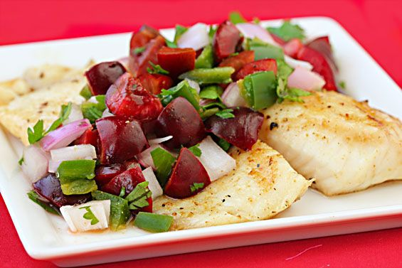 Grilled tilapia with cherry salsa | Fish | Pinterest