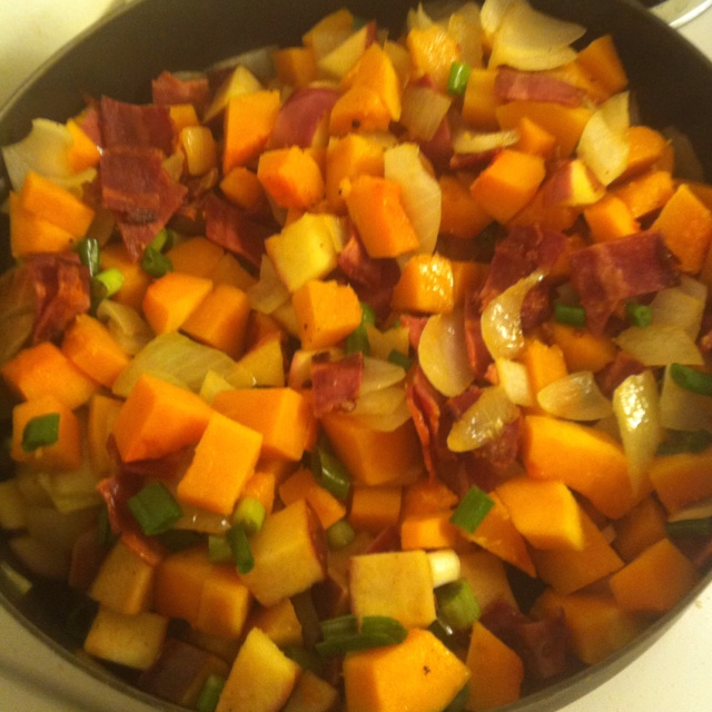 Paleo breakfast hash! Butternut squash, onion, green onion, diced ...