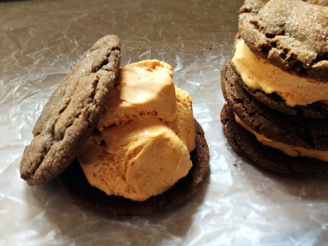 Pumpkin-Gingerbread Ice Cream Sandwiches Recipe — Dishmaps
