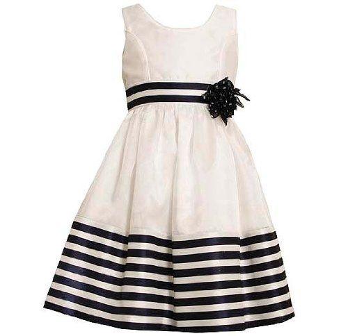Bonnie jean toddler girls 2t 4t white navy stripe shantung dress 2t
