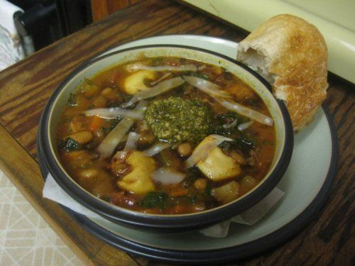 Smokey Minestrone with Tortellini and Parsley or Basil Pesto