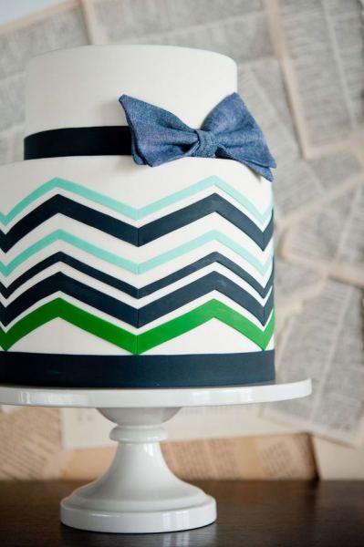green, navy blue chevron cake