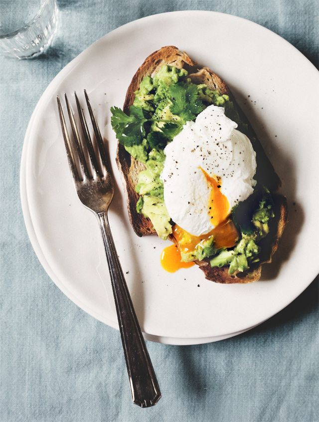 powerbreakfast poached egg with avocado and cilantro on garlic toast