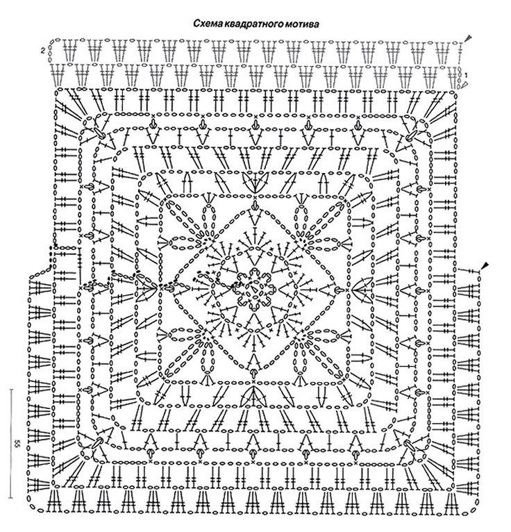Схема как связать крючком квадратные мотивы