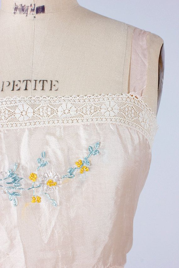 vintage 1920's embroidered camisole, lingerie embroidery